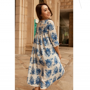 Short puff sleeves floral dress