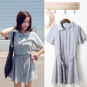 Short sleeves Collar Shirt Dress
