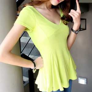 T371 Sexy Low cut Short-sleeve flare top