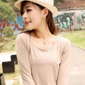 Round neck long-sleeved basic top