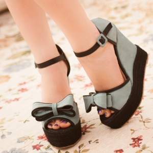 Blue Bow Ankle Strap Wedge
