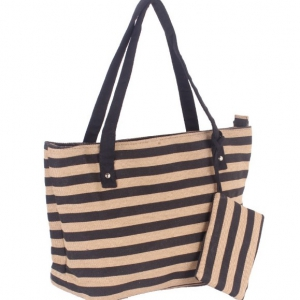 Stripes printed canvas bag / handbags