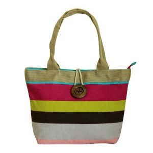 Color stripe canvas shoulder bag ladies bag