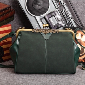 Fashionable Matte Suede Shoulder Bag (Dark Green)