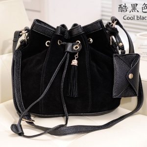 Korean Style Matte Leather Bucket Bag (Black)
