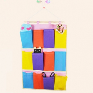 Woven Fabric 12 rainbow pockets wall debris Storage Bag