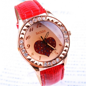159045  Fashionable crystal leather watch