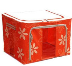 55L Durable Large Foldable Storage Box With Floral Prints,See Through Panel