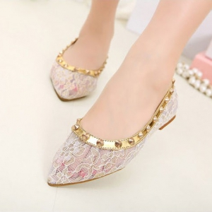 Golden rivet lace flats shoes