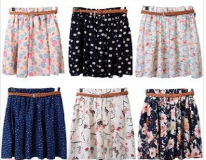 Assorted design short skirts with belt
