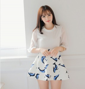 High waist dolphin design skater skirt