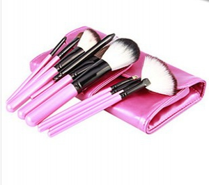 11pc set makeup brushes in pink pouch