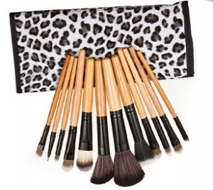 12pc makeup brushes in leopard print pouch