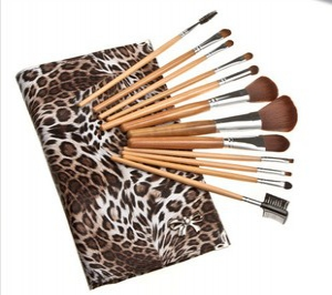 12pc makeup nylon brushes with printed pouch