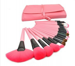 24 pc pink make up brush set