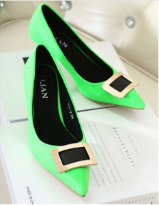 Genuine leather pointed  heels