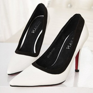 white pointed heels with black trimmings
