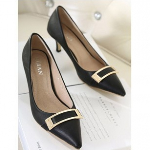 Black pointed leather heels with square buckle