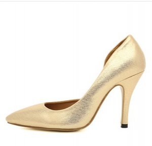 Gold pointed heels