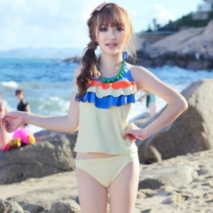 Multi layer colour sweet halter neck swimsuit