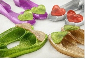 Jelly glitter open-toe flats with heart