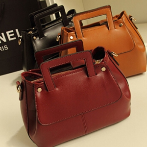 Classic simple design PU leather handbag