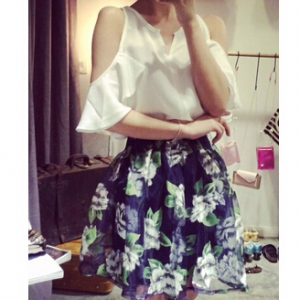 Top+floral skirt set