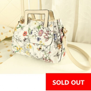 Retro Flowers shoulder OL fashion bag (Cream)