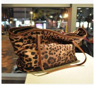Leopard printed leather Handbags