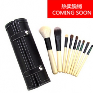 9pc goat hair makeup brushes in cylinder case