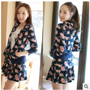 Floral print cardigan + skirt set J635