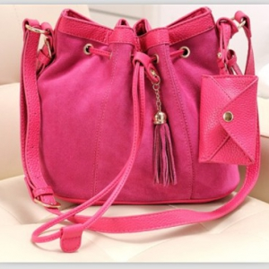 Korean Style Matte Leather Bucket Bag (Rose)