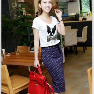 Dots elastic hip pencil skirt