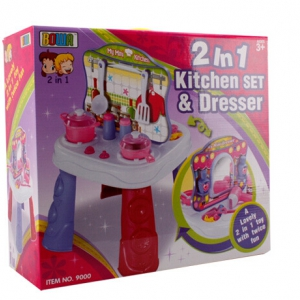 Mini dresser and kitchen playset