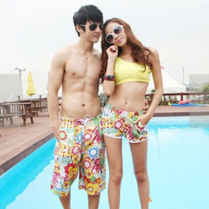 Floral Couple Beach Shorts