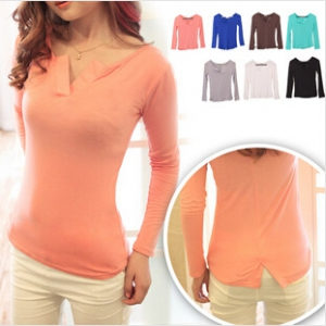 Candy coloured Long Sleeved V-neck T-shirt