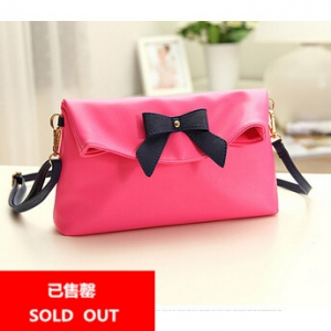Defective Candy colored rose red bow clutch / sling bag