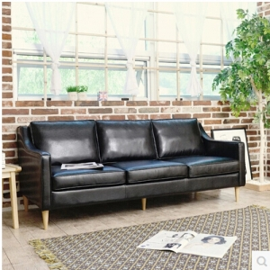 Leather three-seat sofa