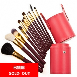 12pc goat hair makeup brushes in cylinder case