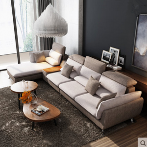 preorder- Fabric three seat sofa +chaise longue+ Side table